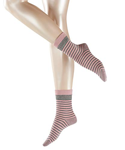 ESPRIT Damen Fold Stripe W SO Socken, Blickdicht, Grau (Light Grey Melange 3390), 35-38 (UK 2.5-5 Ι US 5-7.5) (2er Pack)