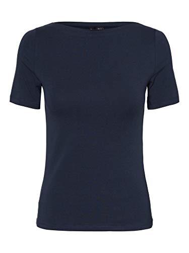 Vero Moda VMPANDA Modal S/S Top GA Color Camiseta, Azul Marino, S para Mujer
