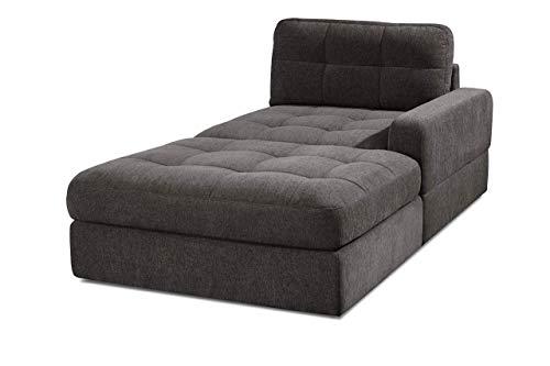 CAVADORE Sofa-Modul Faro / Longchair mit Armteil rechts / Recamiere passend zu den Couch-Modulen Faro / 112 x 88 x 195 / Chenille, braun