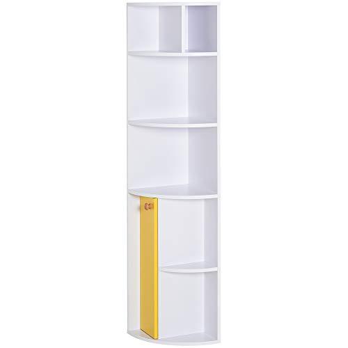 homcom Scaffale Angolare da Parete in Legno Bianco con 5 Ripiani e Armadietto Giallo, Design Moderno, 29.8 x 29.9 x 147cm