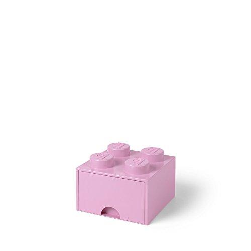 LEGO Brick Drawer, 4 Knobs, 1 Drawer, Stackable Storage Box, Light Pink