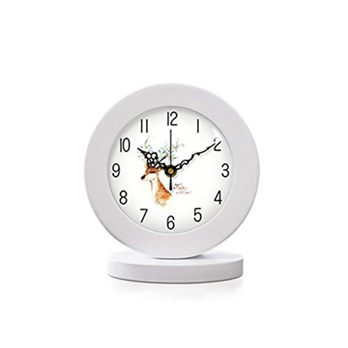 kerryshop Reloj Despertador Minimalista Reloj Escaneo silencioso Movimiento preciso Marco de Madera Blanco Fuente de alimentación de batería Decorativa Moderna Reloj de Escritorio