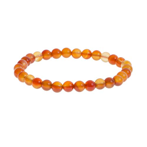 Pulsera de piedra preciosa natural de 6 mm, cornalina, joyas para hombre y mujer, ideal como regalo de papá mamá (cornalina)