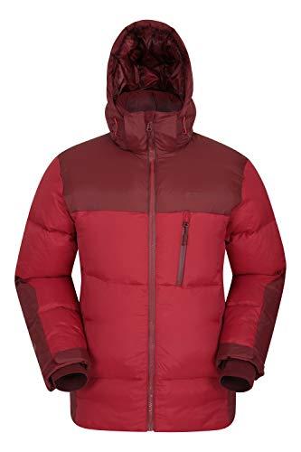 Mountain Warehouse Polar Expedition Herren-Daunenjacke - Warme Winterjacke, gefüttert, isoliert, anpassbar, wasserdichter Reißverschluss - Rot M