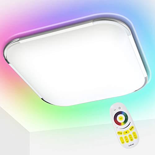 Hengda 36W LED Deckenleuchte RGB, Dimmbare Deckenlampe, IP44 Wasserdicht, für Schlafzimmer, Wohnzimmer, Kinderzimmer, Küche, Badezimmer, ersetzt 200W Glühlampe