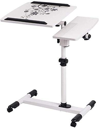 WXDP Silla de ruedas autopropulsada, mesa de ordenador portátil, altura ajustable, mesa de noche giratoria de 360°, mesita de noche con ruedas de bloqueo, ideal