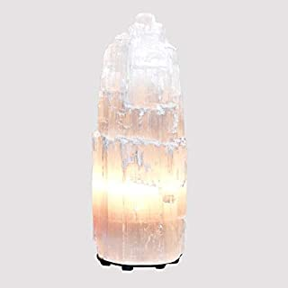 Himalayan Glow Natural Selenite Lamp (2-4 lbs), Amazing Selenite Crystal Lamp Hand Carved with Dimmer Switch