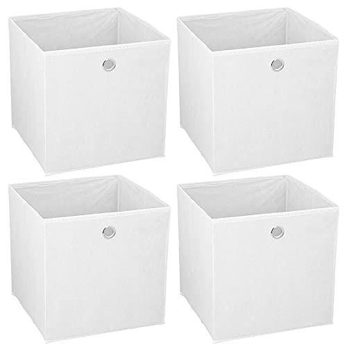 Murago - 4er Set Faltbox ca. 30x30x30 cm Weiß Aufbewahrungsbox faltbar Aufbewahrungs Körbe Einschub Korb Boxen Box Stoff Regalkorb Klappbox Organizer