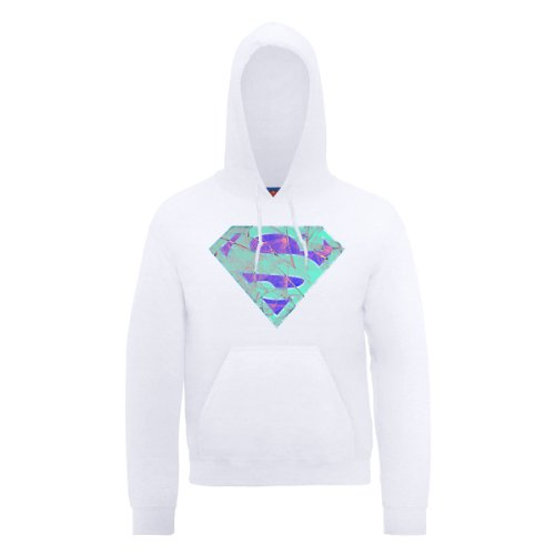 DC Comic DC0000376 Official Superman Glass Logo Sweat-Shirt à Capuche, Blanc, L Homme