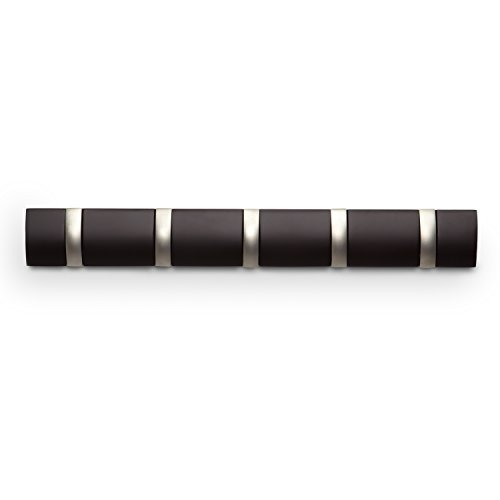 Umbra 318850-213 Flip - Perchero de pared con ganchos articulados (marrón oscuro)