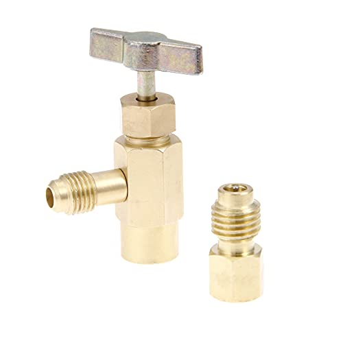 SURIEEN R134A Can Tap Valve Refrigerant Dispenser Tool with Tank Adapter,Brass Valve Bottle Opener for 1/4 and 1/2 inch AC Air Conditioner Manifold Freon Charging Hose