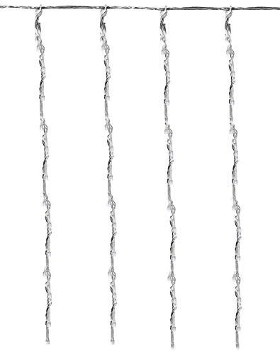 matrasa Eiszapfenlichterkette Vorhang Wasserfall-Effekt - Eiszapfen Lichterkette L 2m x H 1m | 220 LED Warmweiß