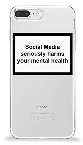 YENIGHT HYPExSTORE® Social Media Seriously Harms Your MENTAL Health iPhone Transparent Crystal Clear Cover CASE Tasche HÜLLE (iPhone 7 Plus / 8 Plus)
