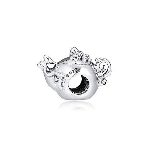Joyería De Plata De Ley 925 para Mujer Encantos De Tetera Encantada Cuentas Aptas para Pulseras Pandora Europeas Collares Fabricación De Joyas DIY