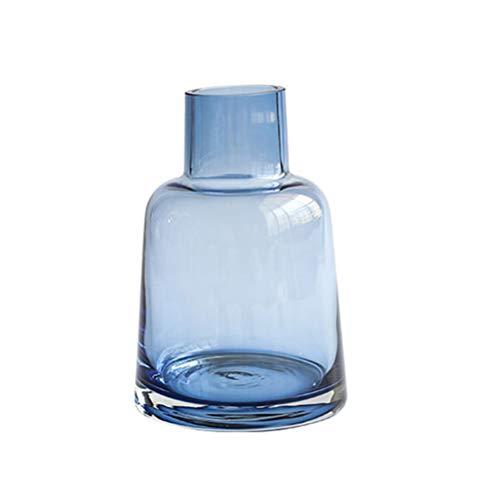 Vosarea Glas Blumen Vase Schreibtisch Glas Blumentopf für Zuhause Büro (Grau Blau)