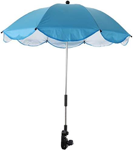 Sombrilla para sol y lluvia para playa, camping, senderismo, silla de cochecito refugio, protección solar, giratorio, azul celeste
