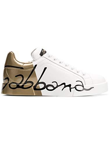 Luxury Fashion   Dolce E Gabbana Donna CK1600AI053HH821 Bianco Pelle Sneakers   Autunno-Inverno 19