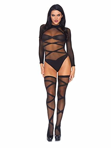 Leg Avenue, taglia unica, colore: nero opaco, Criss Cross Body e Matching autoreggenti per donna