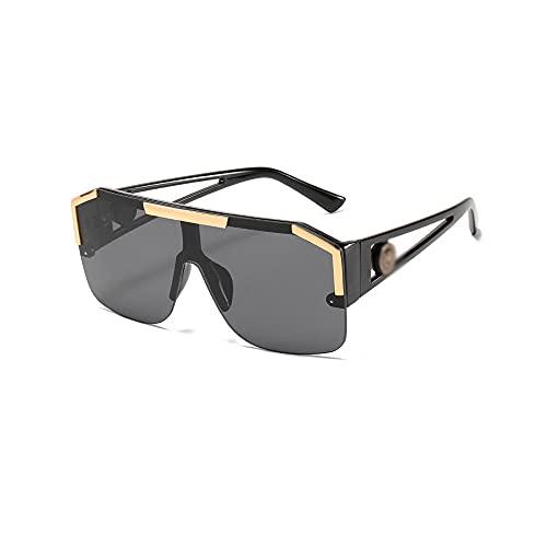 FEINENGSHUAI Taiyj - Gafas de sol polarizadas para hombre con lentes polarizadas de espejo, gafas siamesas sin montura