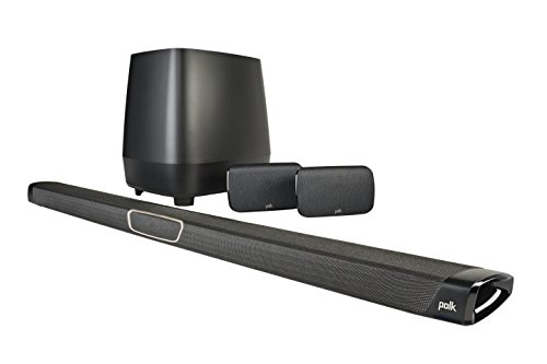Polk Audio MagniFi Max SR 5.1 Soundbar-System mit kabellosem Rear Surround-Sound, 400 W, Schwarz