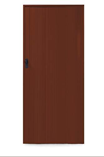 Ondis24 Falttür Ayto, Schiebetür bis 84cm Breite & 215cm Höhe, in der Höhe kürzbar, Holzstruktur, abschließbar (Nussbaum, kürzbar)