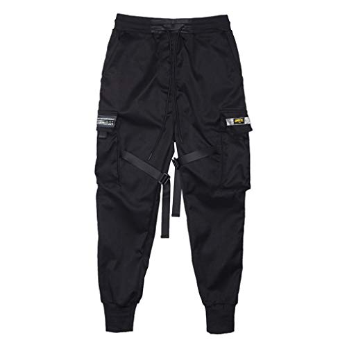 Riou Herren Cargo Hose Schwarz Lange Slim Fit Stretch Jogginghose Urban Classics Freizeithose Chino Jogging Pants