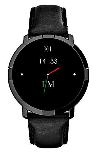 Smartwatch FLORENCE MARLEN FM1R   Disegnato In Italia   2 CINTURINI   Uomo-Donna Pelle Verona Nera  Orologio,Water-Resistant Cardiofrequenzimetro,Contapassi,Notifiche IOS&Android