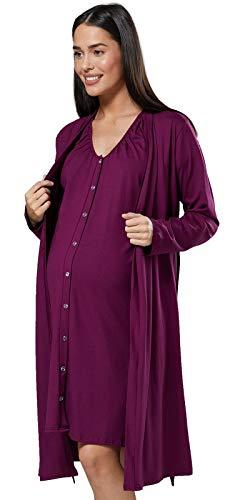 Chelsea Clark Para Mujer Set Camisón Bata de Premamá Embarazo Lactancia (Ciruela, M)