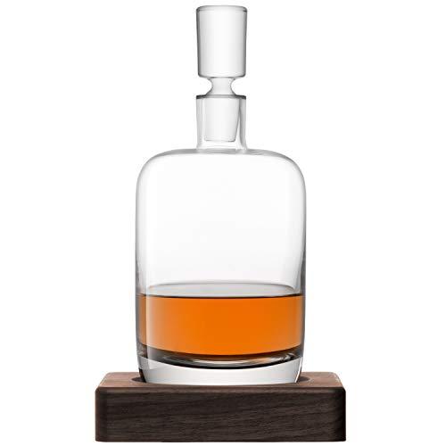 LSA International Whisky Renfrew Decanter 37.2 fl oz Clear & Walnut Base, Clear/Walnut