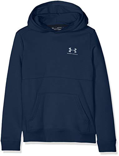 Under Armour EU Cotton Fleece Hoody Parte Superior del Calentamiento, Niños, Azul (Academy/Steel 408), L
