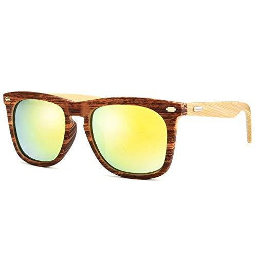 Gafas de Sol Gafas Retro Clásicas Polarizadas Gafas De Sol con Patas De Bambú Gafas De Sol De Madera De Bambú protección para los Ojos (Color : D)