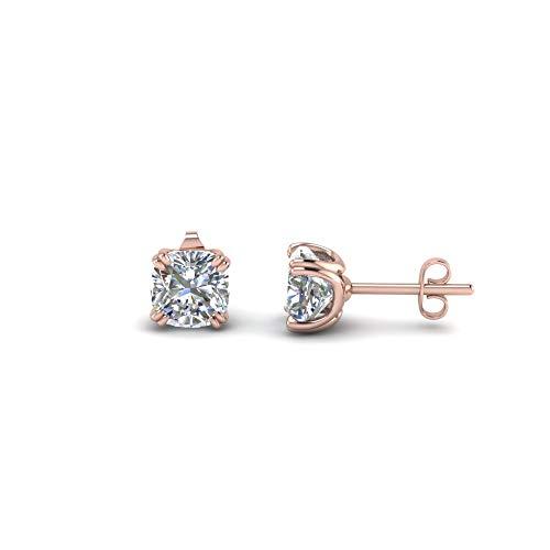 Pendientes de tuerca en forma de cojín de 5 mm-8 mm con diamante transparente D/VVS1 en oro rosa de 14 quilates chapado en plata 925 engaste de doble punta