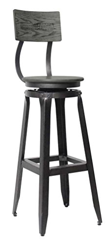 Harley-Davidson Bar & Shield Wood Backrest Bar Stool, Ash Gray Wood HDL-12212