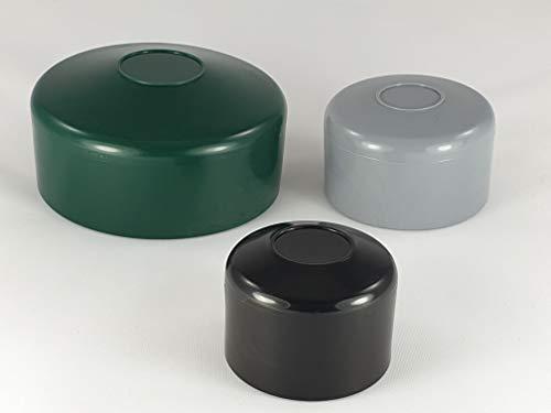 OuM 10 Stück Pfostenkappe Zaunpfahlkappe rund 42,4mm (1 1/4 Zoll) Schwarz