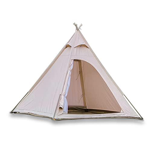 KLFD Impermeable Sun Shelter Carpa De Algodón De Grado Superior para 3-4 Personas Poste De Acero para Acampar Al Aire Libre Carpa De Tela De Algodón Carpa Familiar Emergente Instantánea