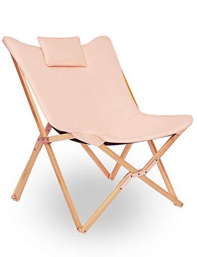 Klappstuhl Liegestuhl Gartenliege Lounge Sessel Modern Design Hochlehner TV Relaxliege Stühle Klappbar Mit Holz und Stoff Für Camping Drinnen und Draußen Rosa