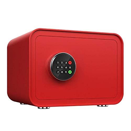 GGDJFN Kassaskåp säkerhetsinsättning, litet elektroniskt lösenord nyckelförvaringsskåp 2 lager skåp kassaskåp för ID-papper, A4-dokument, bärbara datorer, juveler - röd -35 x 28 x 25 cm