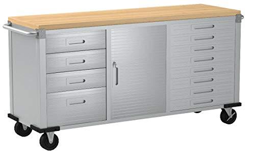 Seville Classics UHD20242 Werkstattwagen mit 12 Schubladen, 182,9 x 50,8 x 95,2 cm, Metall pulverbeschichtet, Buche Holzarbeitsplatte, grau - 6