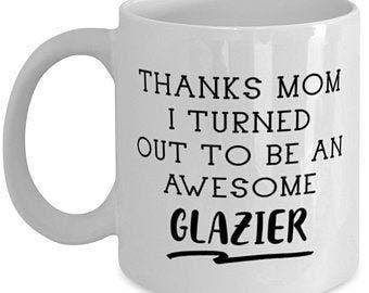 Vidriero, regalo para el día de la madre, taza divertida de mamá, gracias mamá, resultó increíble vidriero, 11 oz vidriero hijo hija