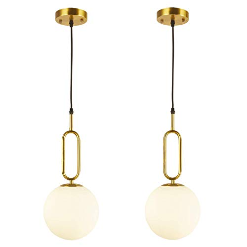 BAODEN 1 Lights Modern Globe Pendant Light Fixture Set of 2 Mid Century Chandelier Brushed Brass Finished with White Globe Glass Lampshade Living Room Bedroom Dining Lighting (Gold)