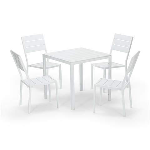 Grupo Maruccia - Juego de comedor para exteriores de cuatro plazas con mesa y sillas, mobiliario de jardín para exteriores