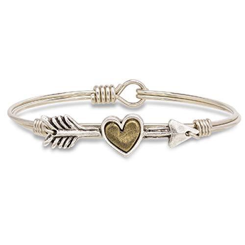 Luca + Danni Follow Your Heart Bangle Bracelet For Women - Silver Tone Size Regular Made in USA