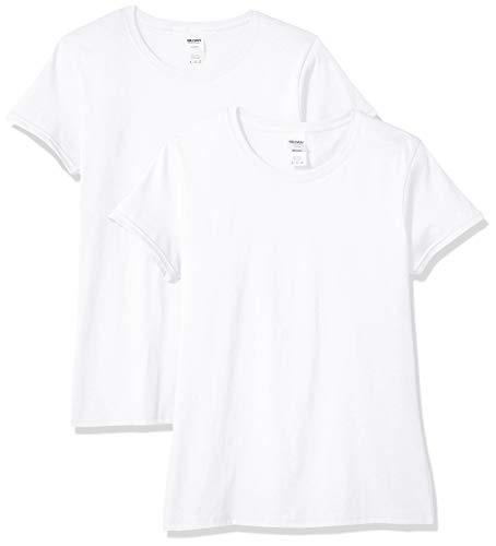 Gildan Women's Heavy Cotton T-Shirt, Style G5000L, 2-Pack, White, Medium