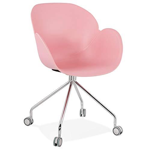 Alterego Chaise de Bureau Design 'Jeff' Rose sur roulettes