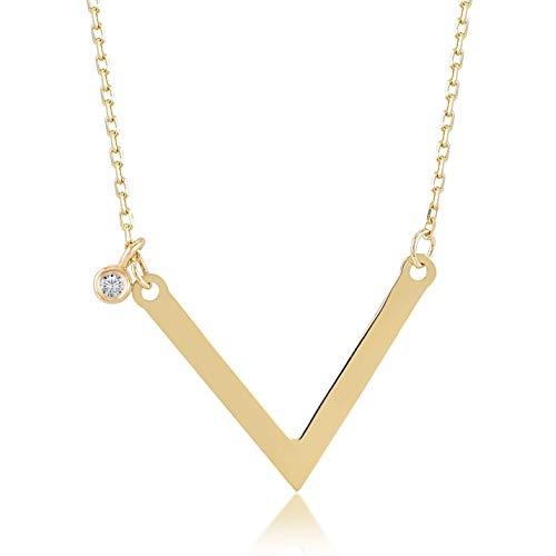 Damen Halskette 14 Karat / 585 Gelbgold mit Anhänger in V Form und 0.01ct Diamant, Kettegröße 45cm Geschenk Idee, Federringverschluss