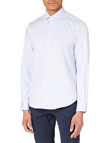 Cortefiel Camisa DE Vestir Lisa Tailored, Azul Claro, XXL para Hombre