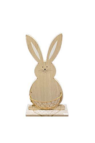 Conejo decorativo decorativo – Marcador de sitio con base de madera y recipiente de metal en la barbilla, 20 cm