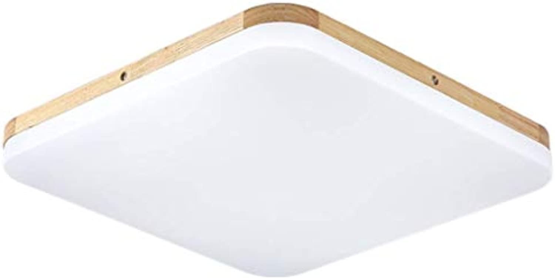 JINWELL LED ultradünne LED Deckenleuchte 5cm dicke Holz Deckenlampe LED quadratische Holz Deckenlampe Holz Lampe Zimmer Restaurant Deko Lampe