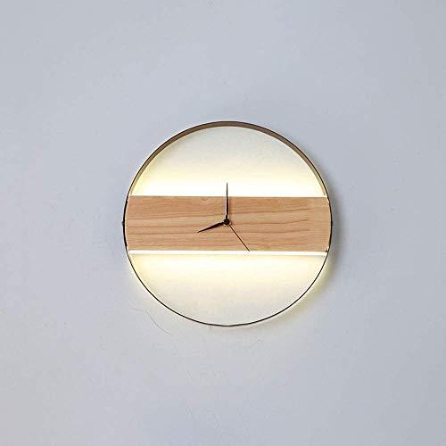 WEM Lámparas de pared, Aplique de pared Reloj de pared nórdico Aplique de madera, Lámpara de pared de montaje empotrado moderna Lámparas de lavado de pared para interiores Lámparas de noche para sala