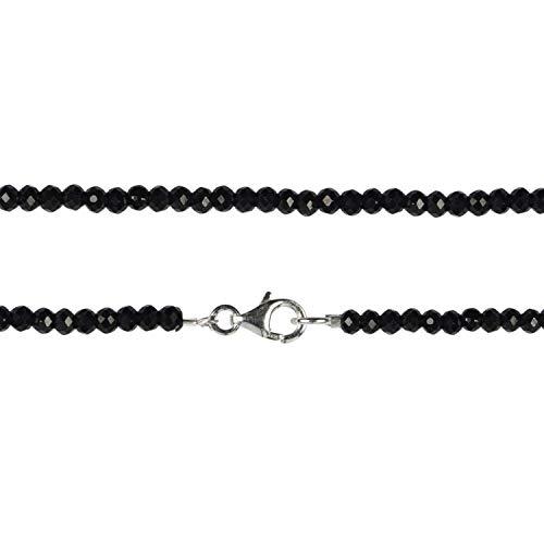 Chili Jewels - Cadena con botones facetados, color negro, 3 mm/45 cm